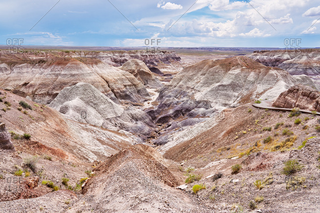 Petrified Forest National Park in Arizona on a beautiful day