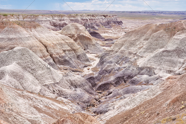 Elevated view over Petrified Forest National Park, Arizona