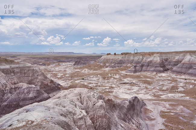View over the badlands in Petrified Forest National Park, Arizona