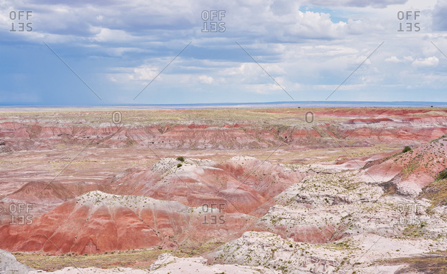 Bird's eye view over the Painted Desert, Petrified Forest National Park, Arizona