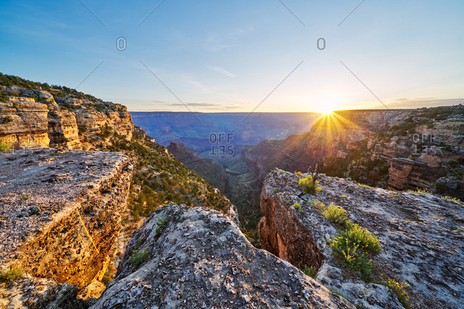Sun rising over Grand Canyon National Park, Arizona