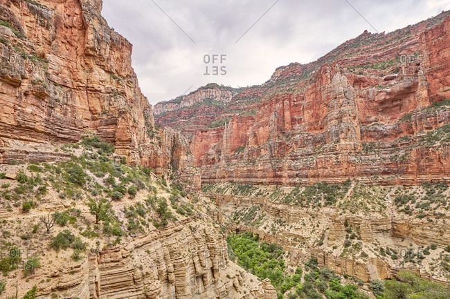 View of beautiful red rock canyons along the North Kaibab Trail, Grand Canyon National Park, Arizona