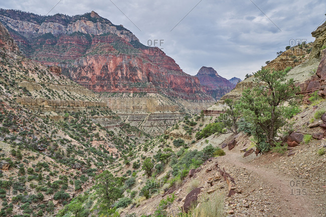 Beautiful red rock canyons along the North Kaibab Trail, Grand Canyon National Park, Arizona