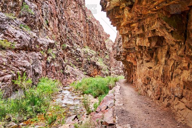 Dirt trail on North Kaibab Trail, Grand Canyon National Park, Arizona