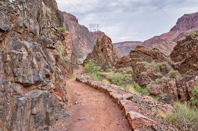 Trail leading through canyons in the Grand Canyon National Park, Arizona
