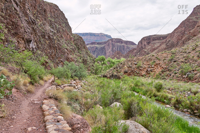 Rocky trails and canyons in the Grand Canyon National Park in Arizona