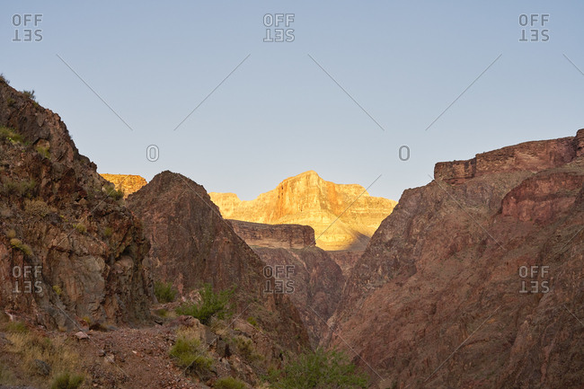 Shadows covering hills on the Bright Angel Trail, Grand Canyon National Park, Arizona
