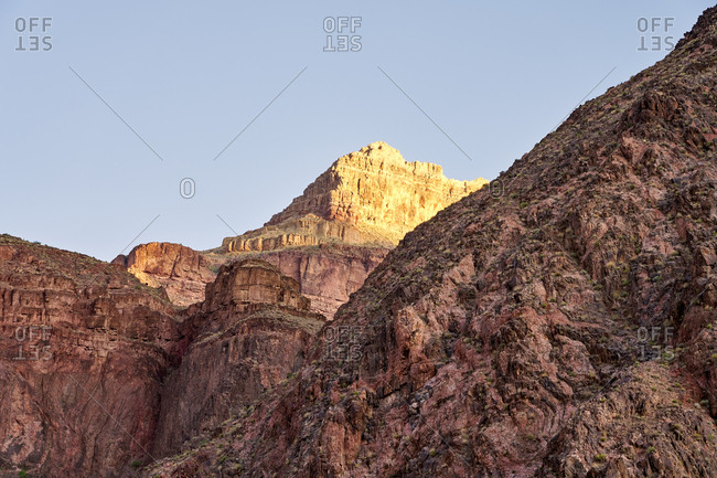 Shadows partially covering hills on the Bright Angel Trail, Grand Canyon National Park, Arizona