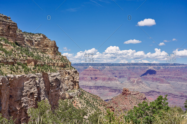 Bird's eye view of Grand Canyon National Park from the Bright Angel Trail, Arizona