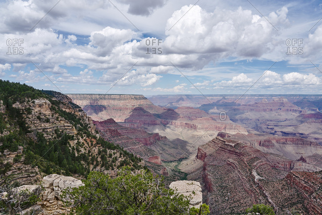 Majestic view of canyons under cloudy skies, Grand Canyon National Park, Arizona