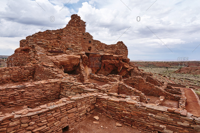 Red structures at Wupatki National Monument, Arizona