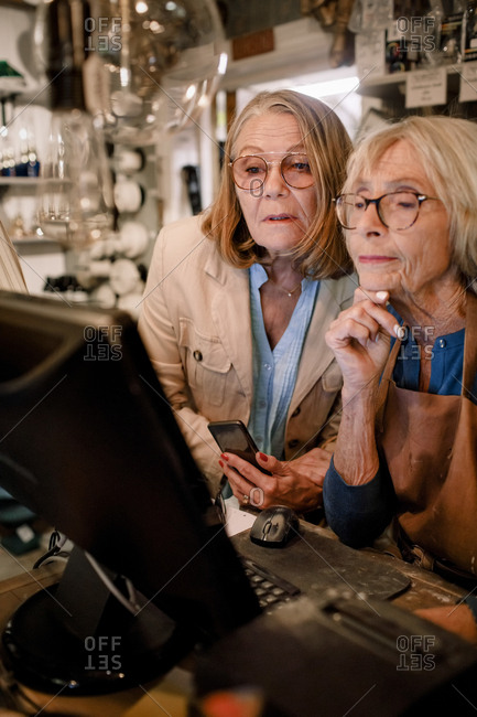 Senior female customer and saleswoman looking at computer monitor in hardware store