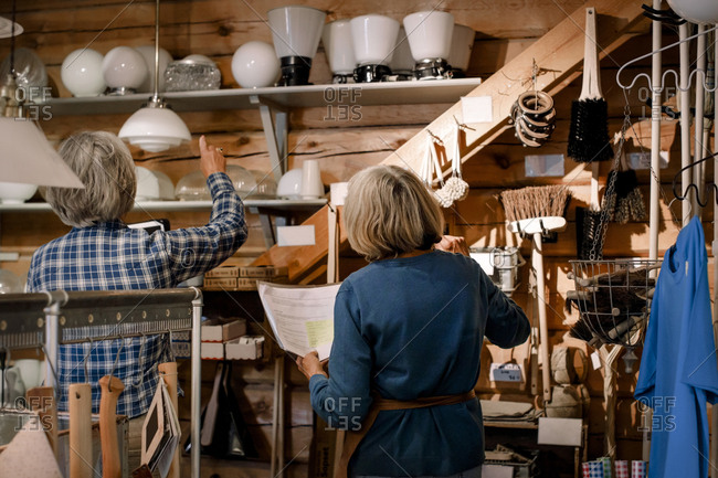 Rear view of female coworkers examining lighting equipment on shelves in hardware store
