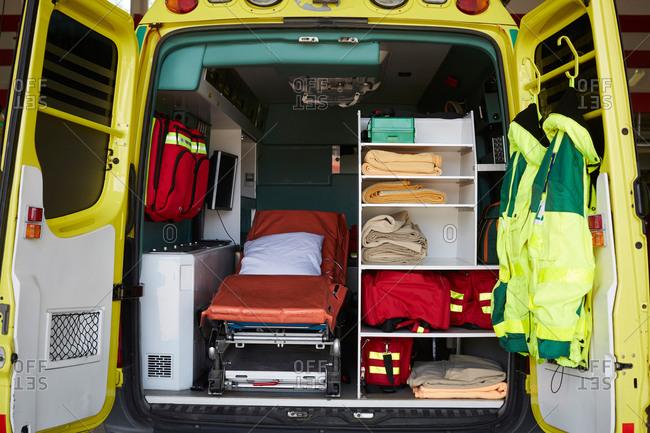 Interior of ambulance at parking lot