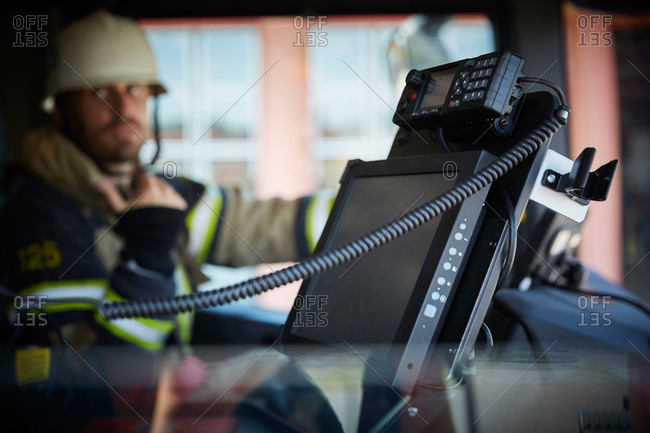 Monitoring equipment against defocused firefighter in fire truck