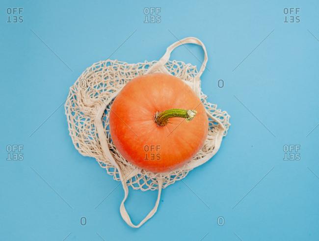 pumpkin in a net bag on blue background
