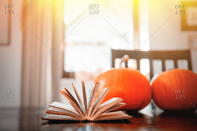 vintage book with pumpkins on a table