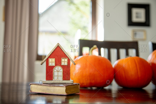 vintage book and toy house with pumpkins on a table