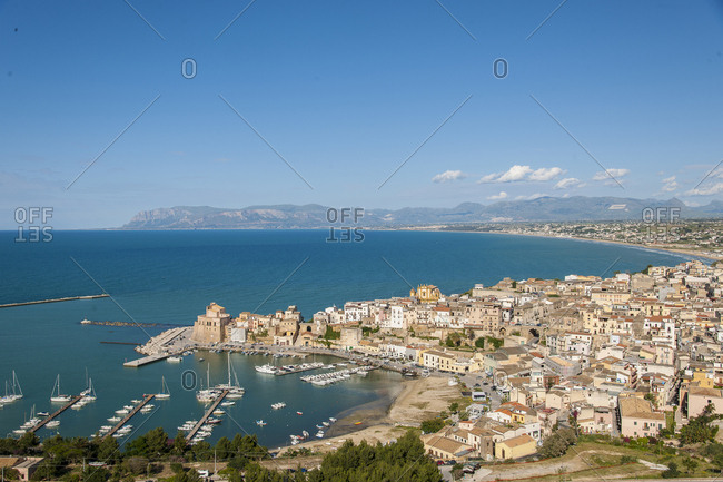 May 16, 2014: Italy, Sicily, Castellammare del Golfo . view of Castellammare del Golfo, the town has about 15,000 inhabitants and was founded as a port in the city of Segesta. it has always been an important military outpost in defense of the island and in this role stories and legends are linked