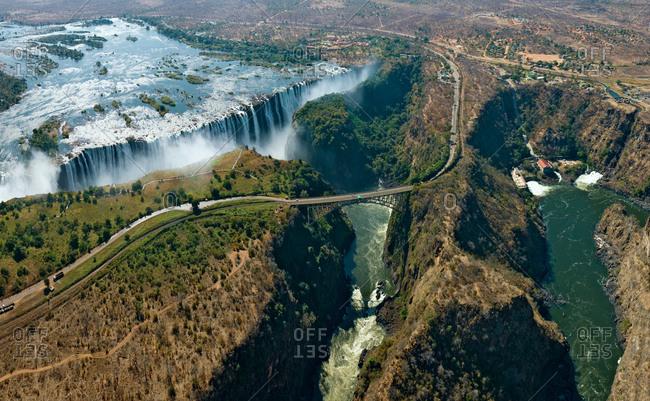 Aerial view of bridge over Victoria Falls, Zambia and Zimbabwe