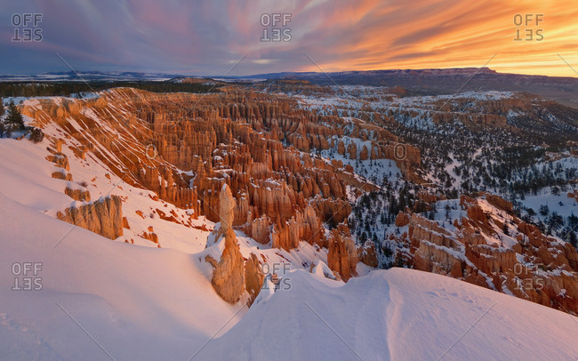 Aerial view of Bryce Canyon during scenic sunset, USA.