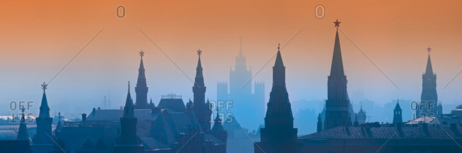 August 21, 2007: Aerial view of Moscow during blue and orange sunset, Russia.