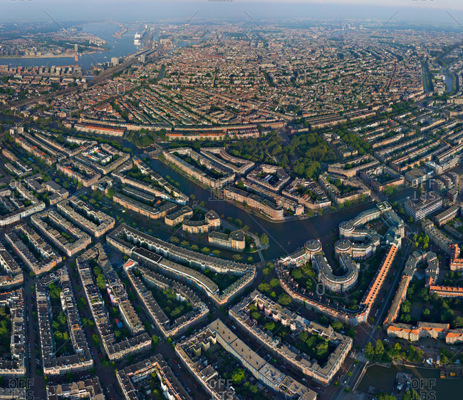 Aerial view of Amsterdam neighborhood, Netherlands.
