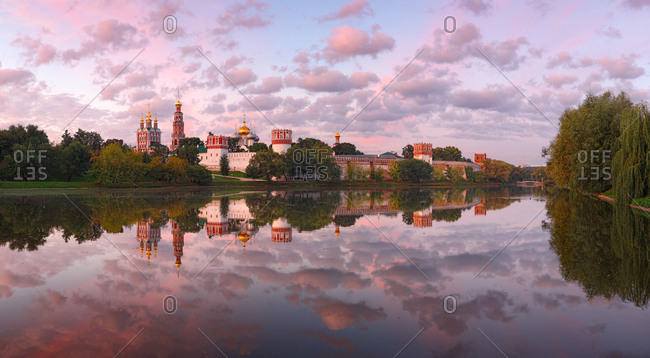 Aerial view of pink sunset at Novodevichy convent, Moscow, Russia.