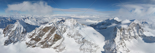 Aerial view of Eastern Alpes, Switzerland