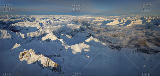 Aerial view of the Eastern Alpes, Switzerland