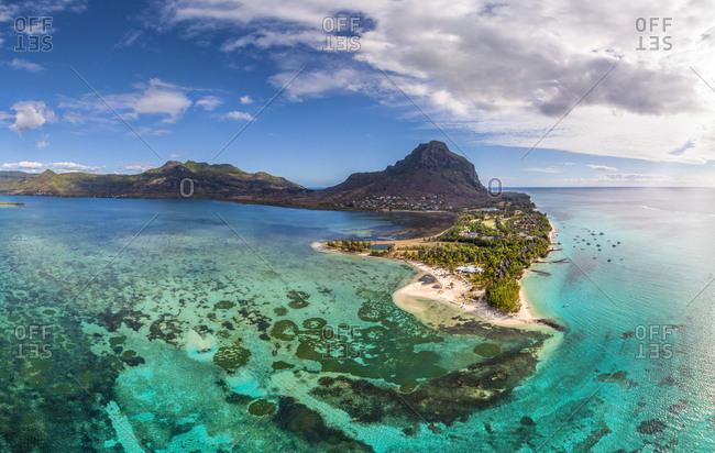 Aerial image of transparent coastal water on Mauritius island.