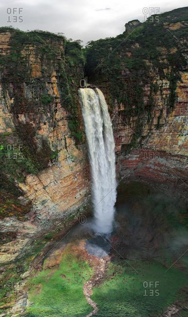 Aerial view of Churun-meru (Dragon) waterfall, Venezuela