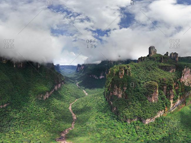 Panoramic aerial view of Angel Falls, Venezuela