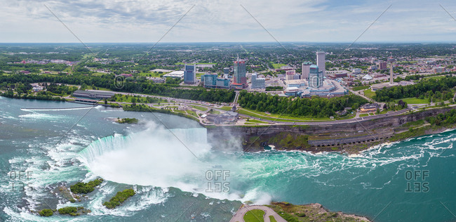 November 13, 2013: Aerial view of Niagara Falls, Canada-USA