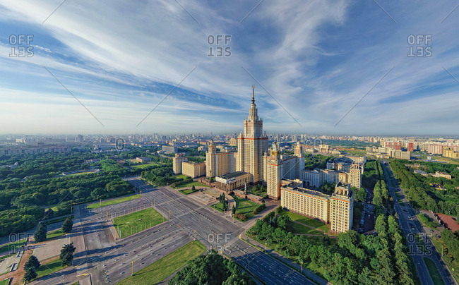 July 19, 2011: Aerial view of Moscow State University during the day, Russia.