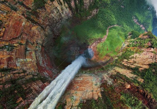 Aerial view of Churun-Meru (Dragon) waterfall