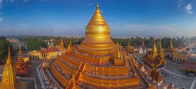 Aerial view of Shwezigon Pagoda. Bagan, Myanmar