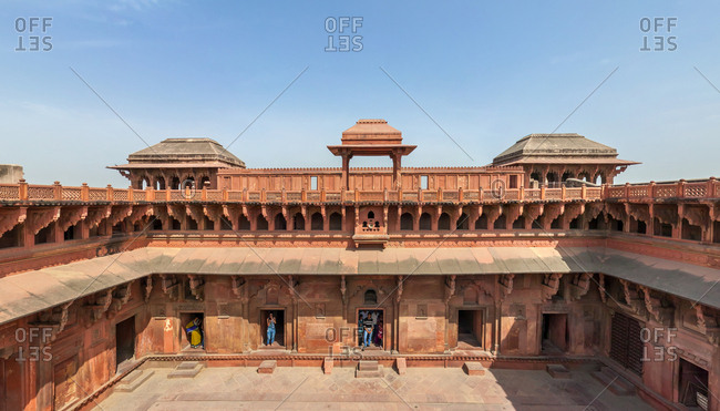 March 16, 2012: Aerial view of Agra Fort, India