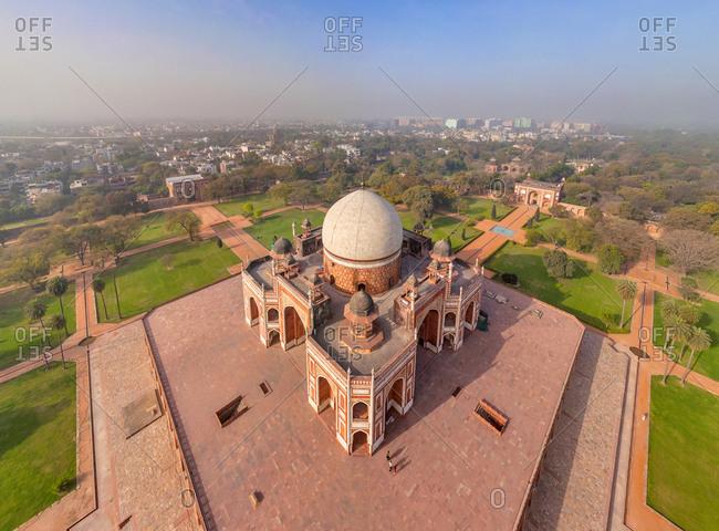 Aerial view of Humayun's Tomb at New Delhi, India.
