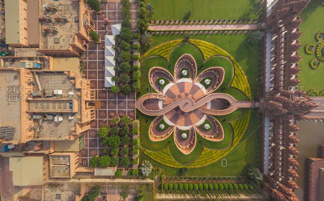 Aerial view of Swaminarayan Akshardham ? the world's largest Hindu temple, Dehli, India.
