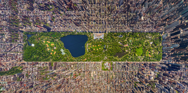 Aerial view above the central park at Manhattan, New York, USA