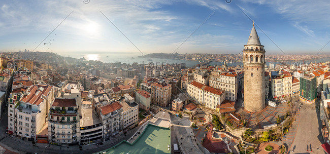 Aerial view of Istanbul tower Galata, Turkey