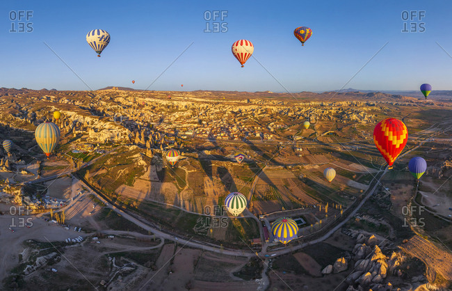 April 17, 2012: Aerial view of hot air balloons flying over Cappadocia, Turkey