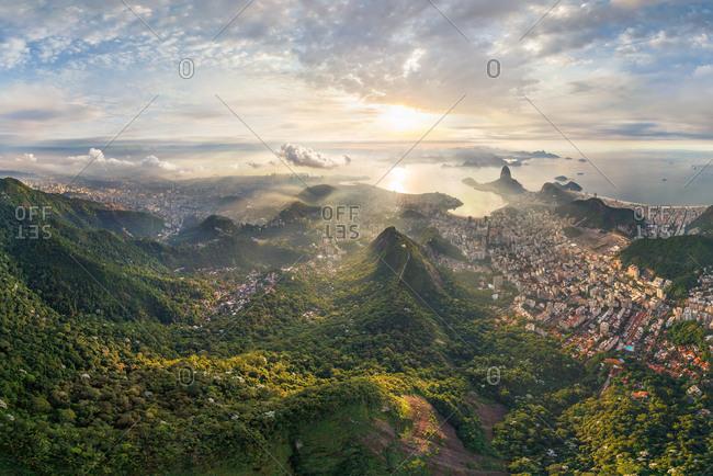 Panoramic aerial view of Rio de Janeiro, Brazil