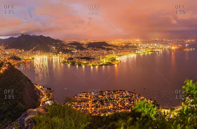 Panoramic aerial view of Rio de Janeiro during the night, Brazil