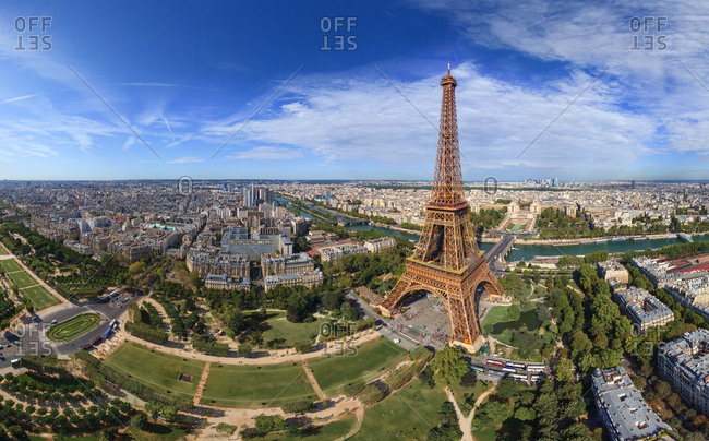 Aerial view of the Eiffel Tower, Paris, France