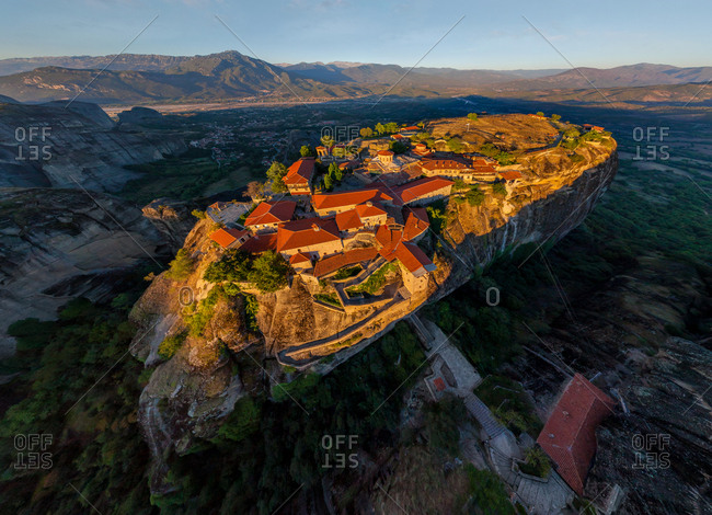 Aerial view of the Holy Monastery of Great meteoron, Greece.