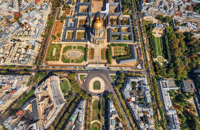 Aerial view of Les Invalides complex with a golden dome, Paris, France.