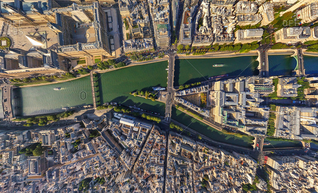 Aerial view above of Ile de la Cite, Paris, France.