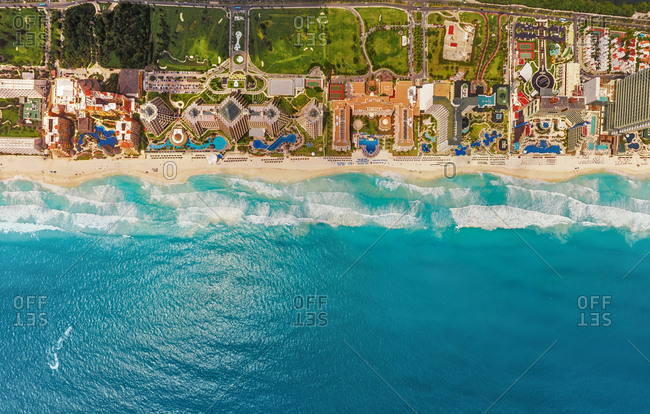 Aerial view of coastal line with resorts. Cancun, Mexico